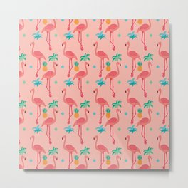 Flamingo Pineapple Pattern Metal Print