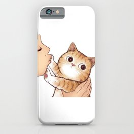 kiss cute cat iPhone Case
