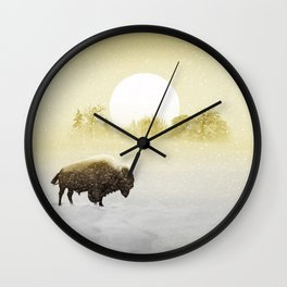 Bison in the snow Wall Clock