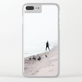 Surfing Where the Ocean Meets the Sky Clear iPhone Case