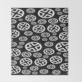 Scattered Circles - Black and White Pattern of Circles and Crosses Throw Blanket
