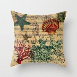 french botanical art music notes starfish seashell Throw Pillow