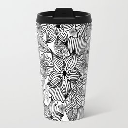 Modern black white hand painted bohemian floral Travel Mug