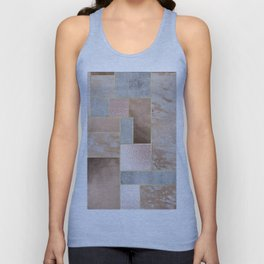 Copper and Blush Rose Gold Marble Quadrangle Geometrical Shapes Unisex Tank Top