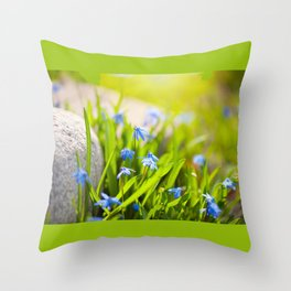 Scilla siberica flowerets named wood squill Throw Pillow