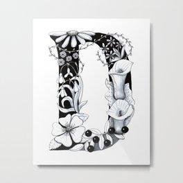 Floral Pen and Ink Letter D Metal Print