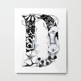 Floral Pen and Ink Letter D Metal Print