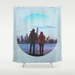 New York City Skyline and Couple Shower Curtain
