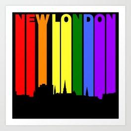 New London Connecticut Gay Pride Rainbow Skyline Art Print