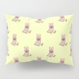 Pug dog in a rabbit costume pattern Pillow Sham
