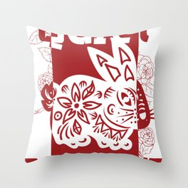 Rabbit Chinese Zodiac Sign Horoscope Animal Throw Pillow