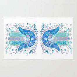 Hamsa Hand – Blue & Turquoise Palette Rug
