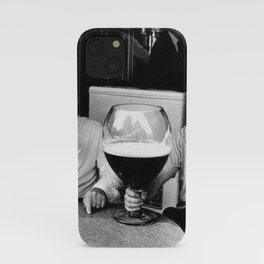 Happy Hour - Men drinking from huge beer mugs after work humorous black and white photograph / art photography iPhone Case