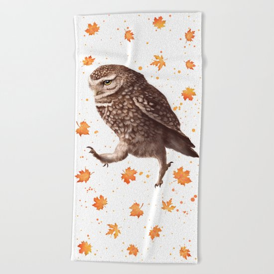 Autumn owl with leaves Beach Towel