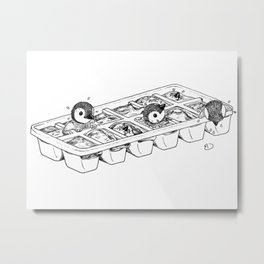 Penguins hatching from an ice cube tray Metal Print