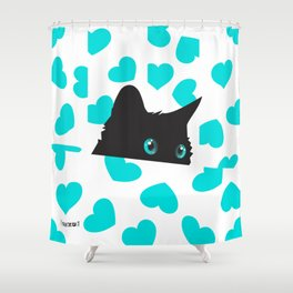 Cat on Blanket with Hearts Shower Curtain