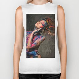 Young woman muse with creative body art and hairdo (8) Biker Tank