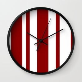 Mixed Vertical Stripes - White and Dark Red Wall Clock