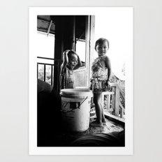 Kids & Water, Cambodia Art Print