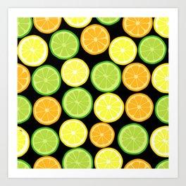 Citrus Slices on Black Art Print