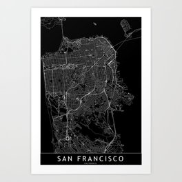 San Francisco Black Map Art Print