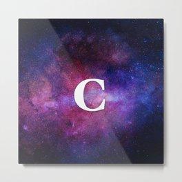 Monogrammed Logo Letter C Initial Space Blue Violet Nebulaes Metal Print