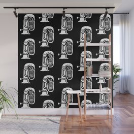Tuba Pattern Black and White Wall Mural