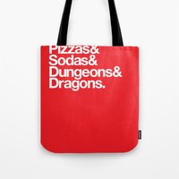 dungeons and dragons Tote Bags featuring Dungeons & Dragons & Swag by Tuff Industries
