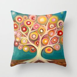 Tree of life with colorful abstract circles Throw Pillow