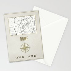 Rome - Vintage Map and Location Stationery Cards