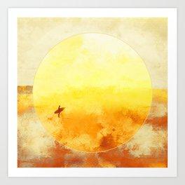 Golden Sun Surf Abstract Art Art Print