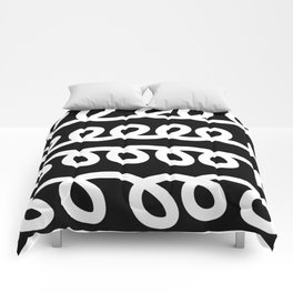 Loops abstract black and white pattern Comforters