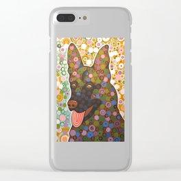 Zeus ... Abstract pet animal dog portrait art, German Shepherd Clear iPhone Case