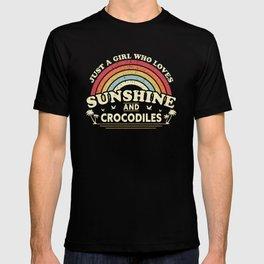 Crocodile graphic. A Girl Who Loves Sunshine And Crocodiles design T-shirt