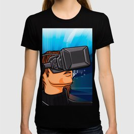illustration of man  with headset glasses T-shirt