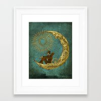 humor Framed Art Prints featuring Moon Travel by Eric Fan
