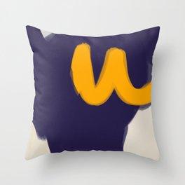 blue yellow white minimal abstract art Throw Pillow