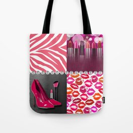 Pink & Purple Fashion Collage Tote Bag