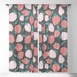 Pink strawberry pattern on black background, tutti frutti trend! Sheer Curtain