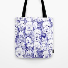 just alpacas blue white Tote Bag
