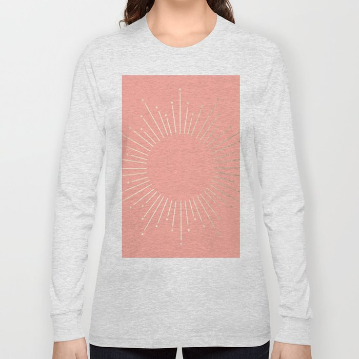 Simply Sunburst in White Gold Sands on Salmon Pink Long Sleeve T-shirt