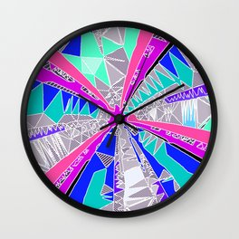 psychedelic geometric pattern drawing abstract background in blue pink purple Wall Clock