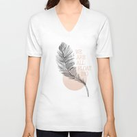 feather V-neck T-shirts featuring Feather by Koning