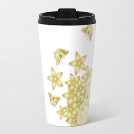 Elegant gold butterflies and gold flowers Travel Mug