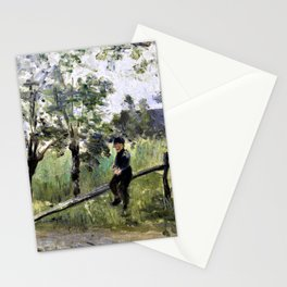 Jozef Israels - Peasant boy on a barrier - Digital Remastered Edition Stationery Cards