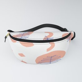 Abstract Minimal Shapes Plants 01 Tropical Modern Illustration Drawing Pattern Texture Fanny Pack