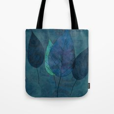Leaves in blue and green Tote Bag