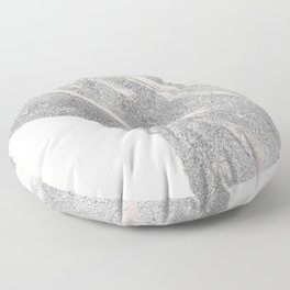 Marble - Silver Glitter on White Metallic Marble Pattern Floor Pillow