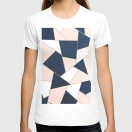 Navy Blue Blush White Gold Geometric Glam #1 #geo #decor #art #society6 T-shirt