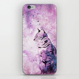Pink Watercolor Cat Painting iPhone Skin
